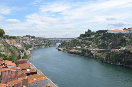 Douro River Top View from Dom Luís I Bridge in Porto, Portugal Stok Fotoğraf