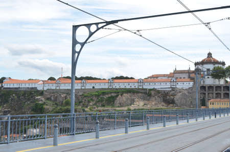 Mosteiro da Serra do Pilar, Railway Wires and Structure from Dom Luís I Bridge in Porto, Portugal