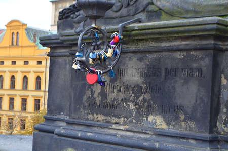 Close Up of Love Promise Locks at Charles Bridge in Prague, Czech Republic Stok Fotoğraf