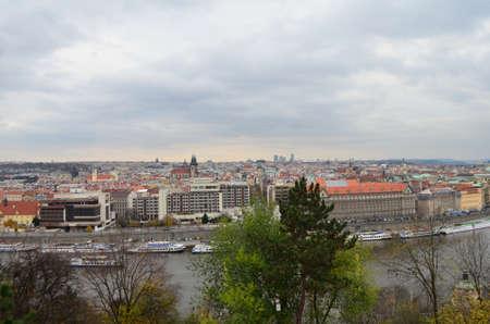 High City View and Vltava River from Letna Park in Prague, Czech Republic