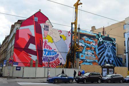 Street Urban Art of Pasta Oner at Narodni Trida in Prague, Czech Republic Editöryel