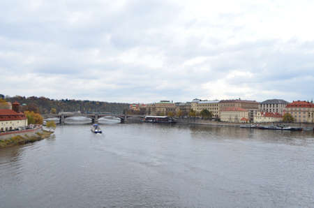 Landscape View of Vltava River in Prague, Czech Republic