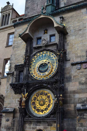 Astronomical Clock Details of Old Town Hall Tower in Prague, Czech Republic