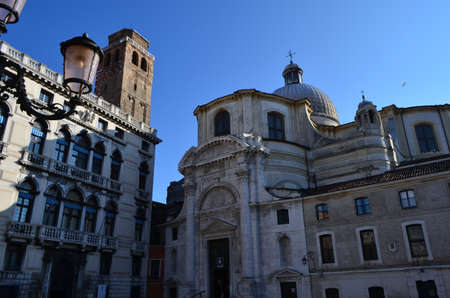 Detail of San Geremia Church in the sestiere of Cannaregio facing The Grand Canal in Venice, Italy