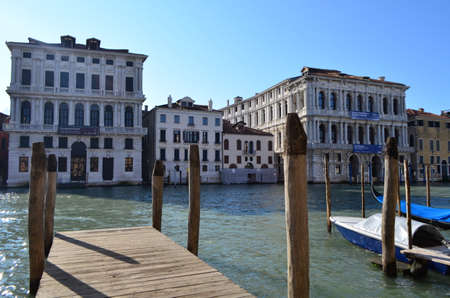 northeastern: Wooden Boat Deck at The Grand Canal in Venice, Italy