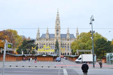 Street View of Wiener Rathaus City Hall in Vienna, Austria