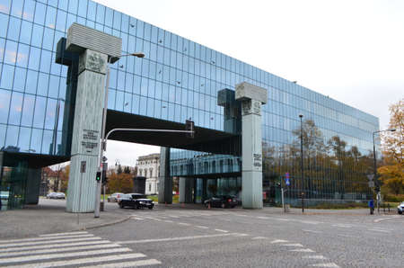 Supreme Court of Poland Mirrored Building Over Streets in Warsaw, Poland