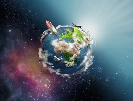 Illustration of life circle on the Earth illustration