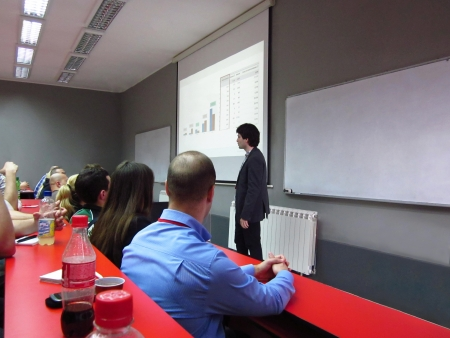 Young business man giving presentation in modern conference room Banco de Imagens