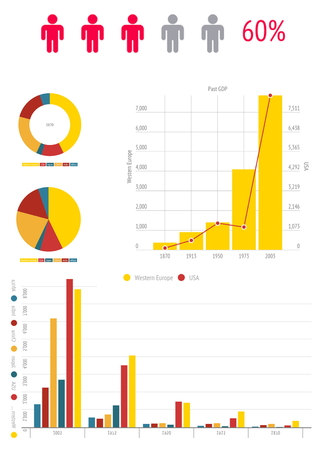 financial market: colorful chart infographic documents on the office desk indoor Stock Photo
