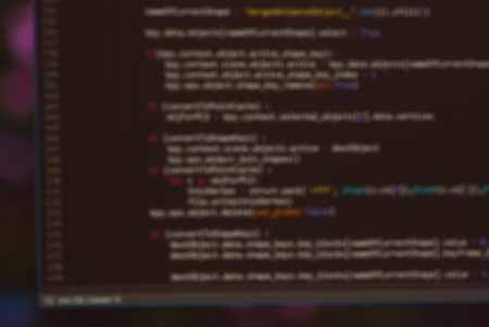 java script: Software programming code tree on black screen background