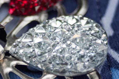 finery: Beautiful crystal glass brooch closeup viw