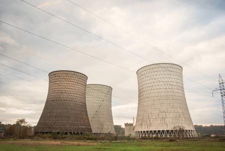 smokestack: Industrial power plant with smokestack