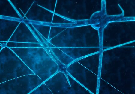 nerve fibers: Blue glowing synapses in space, computer generated abstract background