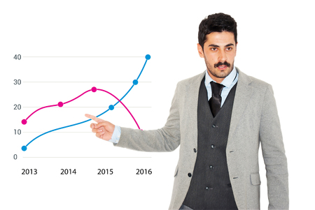Young mustache businessman giving business graph presentation at bright white background