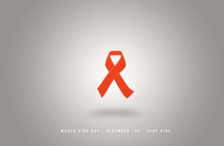 sexually transmitted disease: AIDS awarness red ribbon poster title message. HIV simbol Stock Photo