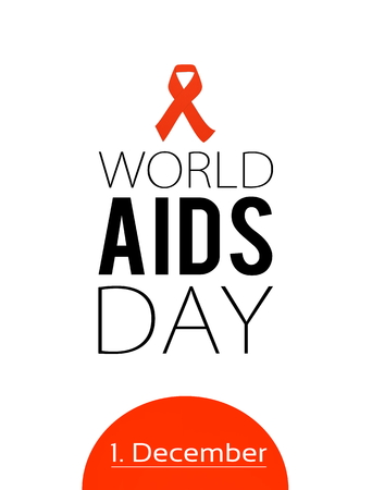 AIDS awarness red ribbon poster title message. HIV simbol 스톡 콘텐츠
