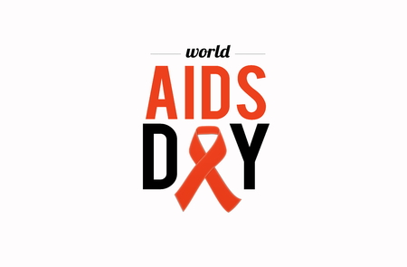 AIDS awarness red ribbon poster title message. HIV simbol Stock Photo