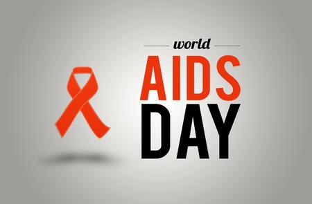 AIDS awarness red ribbon poster title message. HIV simbol Stock Photo