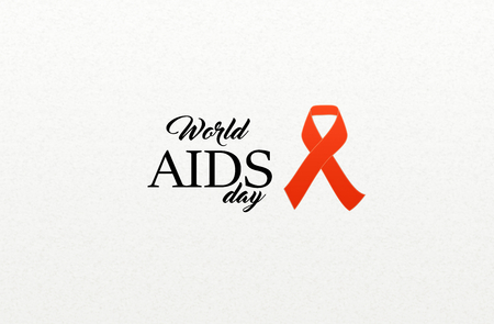 acquired: AIDS awarness red ribbon poster title message. HIV simbol Stock Photo