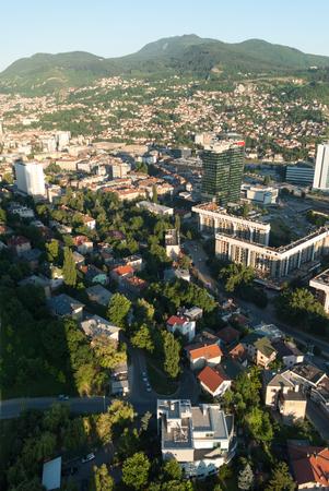 Amazing panorama view on Sarajevo city from the tower birds view Stock Photo