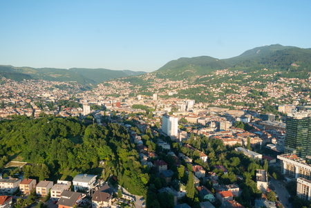 Amazing panorama view on Sarajevo city from the tower birds view Stock Photo
