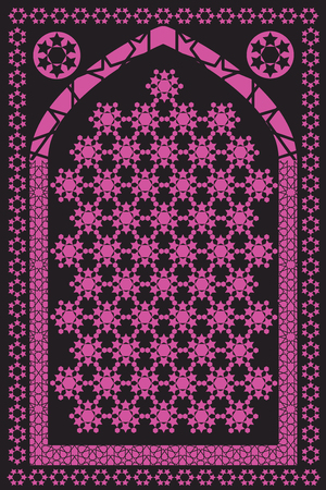 Muslim Prayer Rug. Islamic Textile. Mosque Flooring. Praying Mats. Middle Eastern pattern. Vector set. Illustration