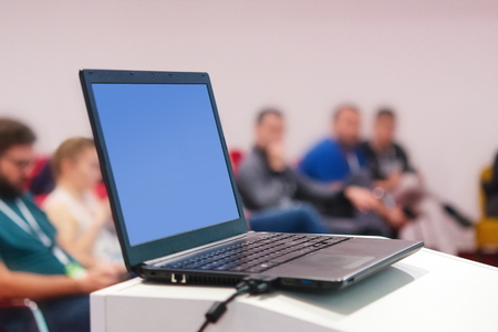 Young successful people at business and data seminar listening presentation. Business and success concept. Stock Photo