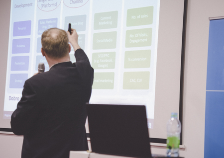 Speaker at business conference and presentation in meeting room. Success and business concept. Standard-Bild - 121351085