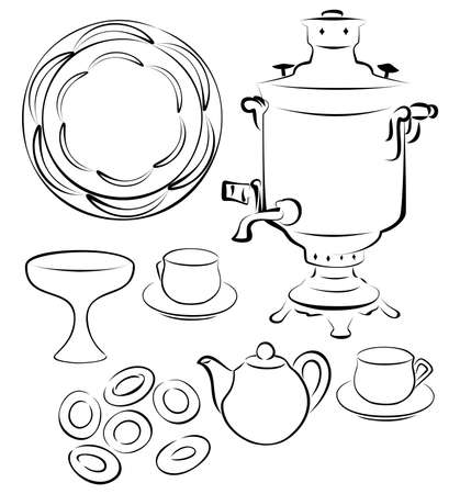 russian tea  Russian samovar with porcelain cups, a porcelain teapot, a kremanka for jam, a tray, Ring-shaped bread rolls Stock Vector - 13837122