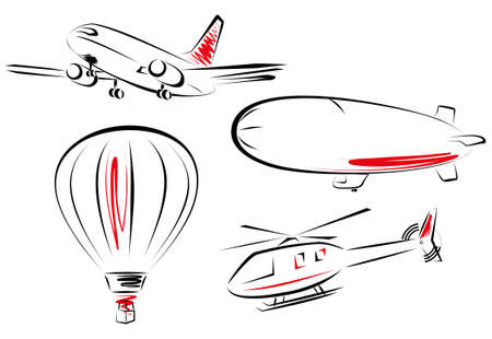 air transport icon set     illustrations of various flying transportation   Vector