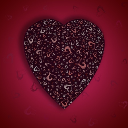 claret: Beautiful claret heart on a red background