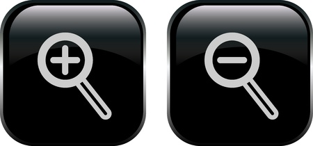 enlarge: Monochromatic increase-decrease magnifiers icons Illustration