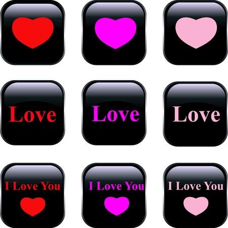 office romance: Set of vector buttons Illustration