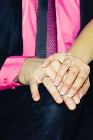 vow:  Bride and grooms hands with wedding ring