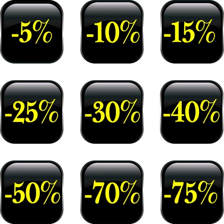 procent: Set of  discount buttons Illustration