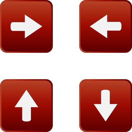 boton flecha: De colores brillantes botones de la tela con la flecha