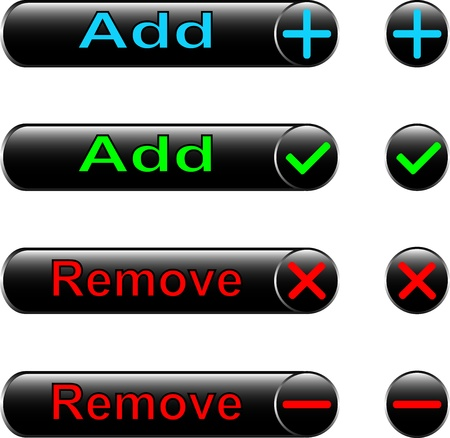 Vector icons - to add and remove for the Internet and web design Vector