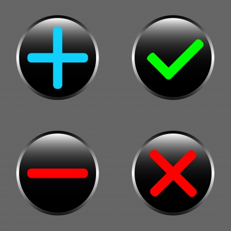 refusal: Set from four icons - a choice, refusal, addition, removal Illustration