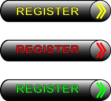 New web glossy register buttons. Registration sign board rectangular. Vector
