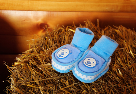 bootees: blue babys bootees Stock Photo