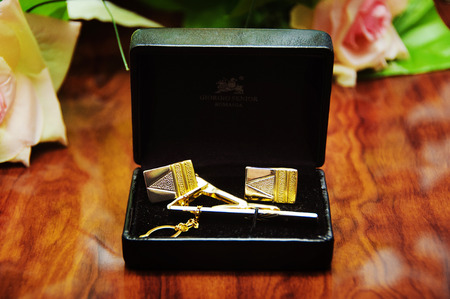 cuff links: Pair of gold cuff links