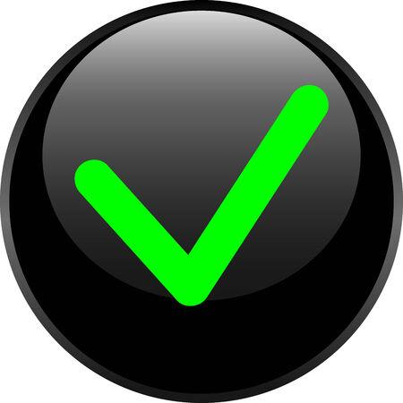 accepter: Accepter cercle brillant ic�ne Web sur fond blanc Illustration