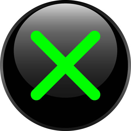 Glossy web button with delete sign.