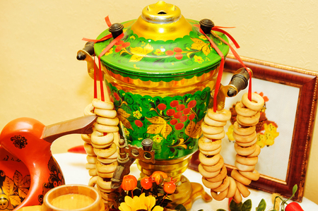 traditional old Russian tea kettle with bagels photo
