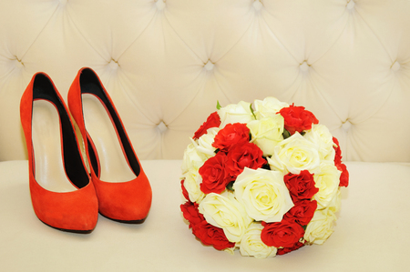 Beautiful bridal bouquet with  shoes