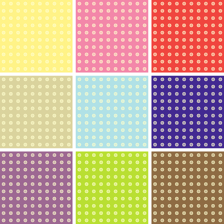 Vector set of nine colorful seamless pattern Vector