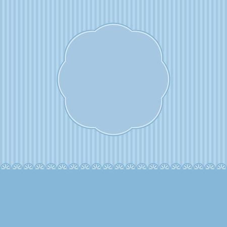flower shape: Blue Romantic template greeting card. Vector illustration.