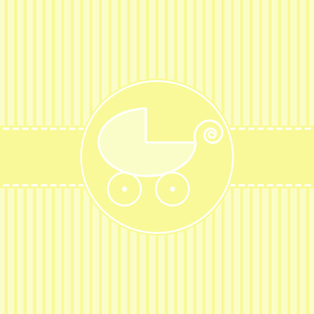 arrival: New baby arrival announcement card a carriage Stock Photo