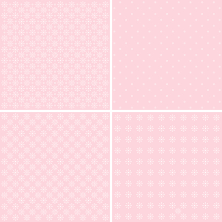 Vector set of 4 pink background patterns. 向量圖像
